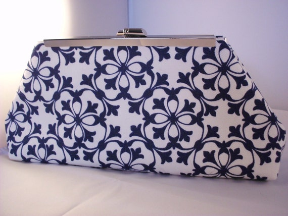 Blue and White Handmade Abstract Cotton Clutch Bag