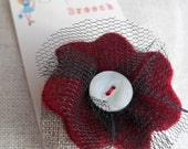 SALE 30 percent off Flower Brooches made with Linen
