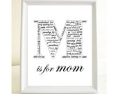 M is for Mom - Mother's Day gift - Print for a mom - 8x10 Print