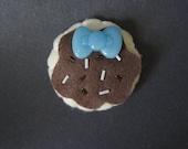 Handmade Felt Choco Sugar Cookie Hair Clip with Bow and Sprinkles