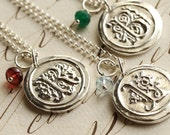 Old English Initial Wax Seal Necklace with Birthstone - Any Letter of the Alphabet - Fine Silver, Sterling Silver