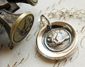 Peace Dove Victorian Wax Seal Necklace - Fine Silver, Sterling Silver
