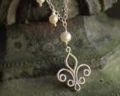 Leap of Faith Fleur-de-Lis and Freshwater Pearl, Sterling Silver Necklace