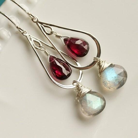 Labradorite and Rhodalite Garnet, Sterling Silver Earrings