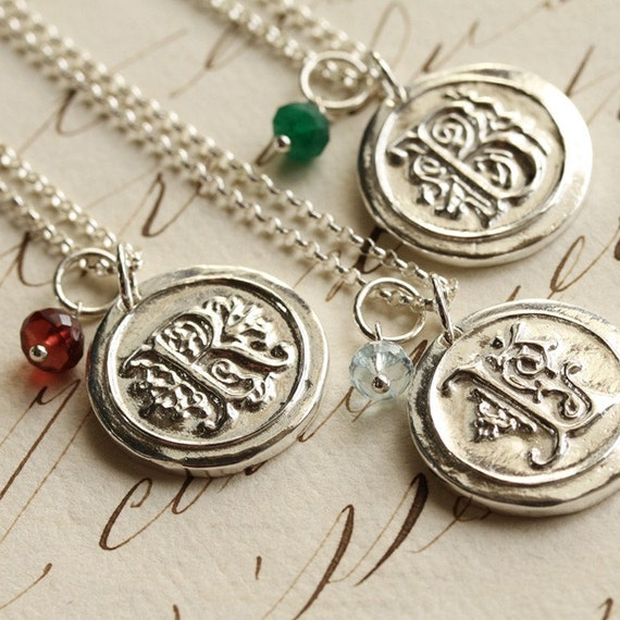 Wax Seal Initial Necklace with Birthstone - Any Letter of the Alphabet