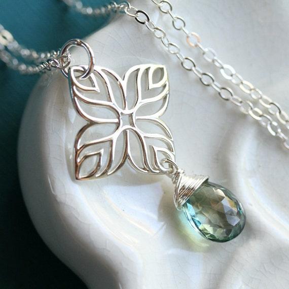 The Explorer Mystic Sea Green Quartz, Sterling Silver Necklace