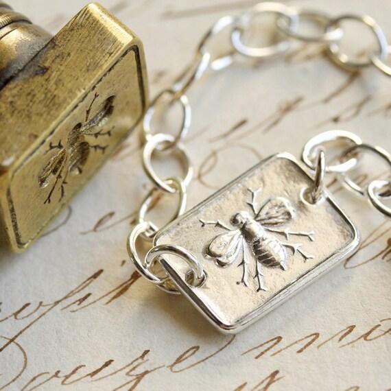 Victorian Bee Wax Seal Bracelet - Fine Silver, Sterling Silver