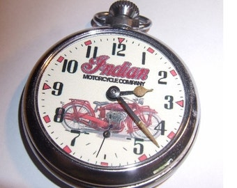 Vintage INDIAN MOTORCYCLES picture dial pocket watch