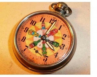 Old JUSTICE LEAGUE character dial pocket watch