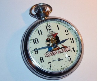 Free Worldwide Tracked Shipping.....Vintage Popeye and Olive character dial pocket watch