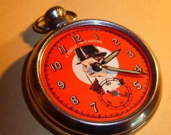Vintage 1950's CHARLIE McCARTHY Ventriloquist Pocket Watch