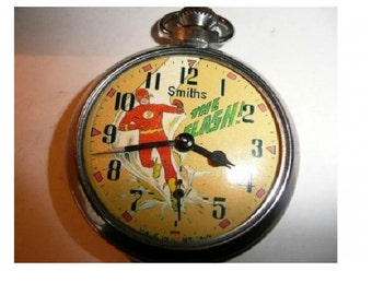 Free worldwide tracked shipping...Vintage THE FLASH Character Dial Pocket Watch
