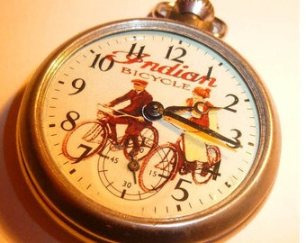 1950s Vintage INDIAN BICYCLE advertising dial pocket watch