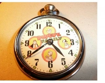 Free worldwide shipping...Vintage Popeye Family Character Dial Pocket Watch