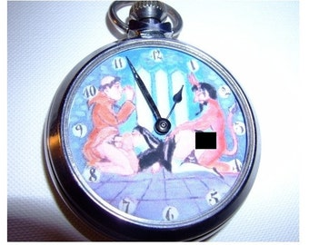 Vintage erotic dial animated pocket watch. The devil and the nun MATURE