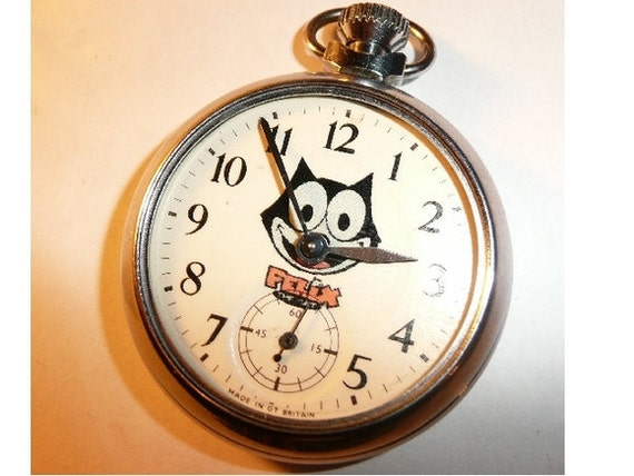 Free worldwide tracked shipping...Vintage Felix The Cat Character Dial Pocket Watch