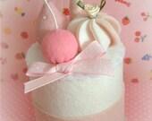 beautiful spring pinks and white felt food cake
