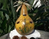 Painted Gourd Sunflowers Art Primitive