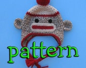 PDF Crochet Pattern, Sock Monkey Hat with Earflaps, Braids, and Pompom or Flower, Newborn to Teen Size, Sell What you Make