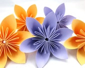 Origami Flowers - 20pcs - Lavender and Tangerine