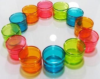 10 Dozens Wholesale Tiny Color Plastic Round Boxes