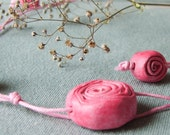 Pink Necklace with Ceramic Roses - OOAK - SALE