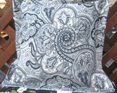 Waverly Paisley Pillow Cover Paddock Shawl Outdoor Black With Unique Back  Cream Paisley French Country REDUCED CLOSING SHOP