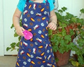 Child's Full Apron, Blue Atomic Spaceships, Unisex, One of a Kind