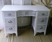 Vintage Desk in White with Gray Contrast on Drawers