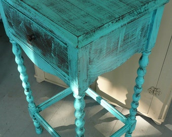Table Primitive Farmhouse Accent/ Side Table Poppy Cottage Painted Furniture PAINT to ORDER Custom
