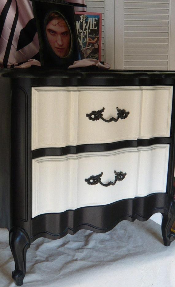 SALE Black Ivory Boudoir Accent Table
