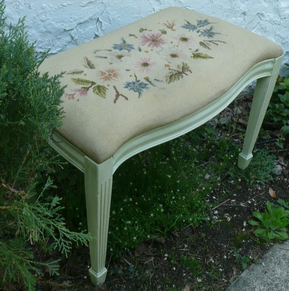RESERVED for Jilfatti Upcycled Needlepoint Vintage Bench .Serendipity . Painted Furniture