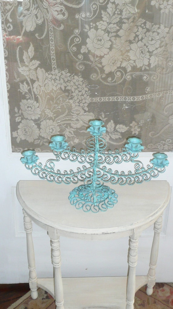 Candlelabra in Coastal Blue