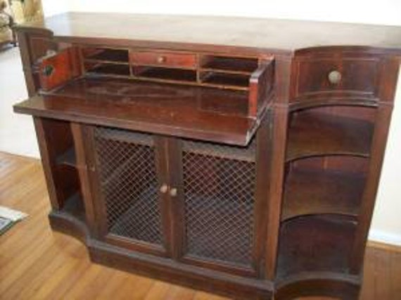 Mahogany Credenza Liquor Cabinet Bookcase Vintage Poppy Cottage Zoom