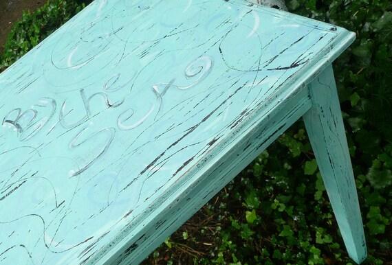 Seaside Cottage Table. Primitive Handpainted