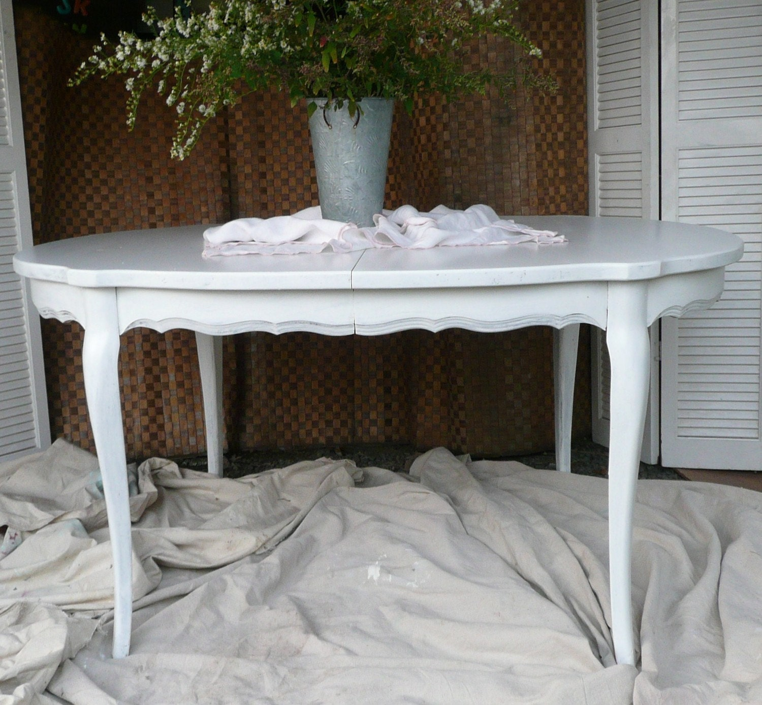 Vintage painted shabby chic dining table in white painted - Shabby chic dining table sets ...