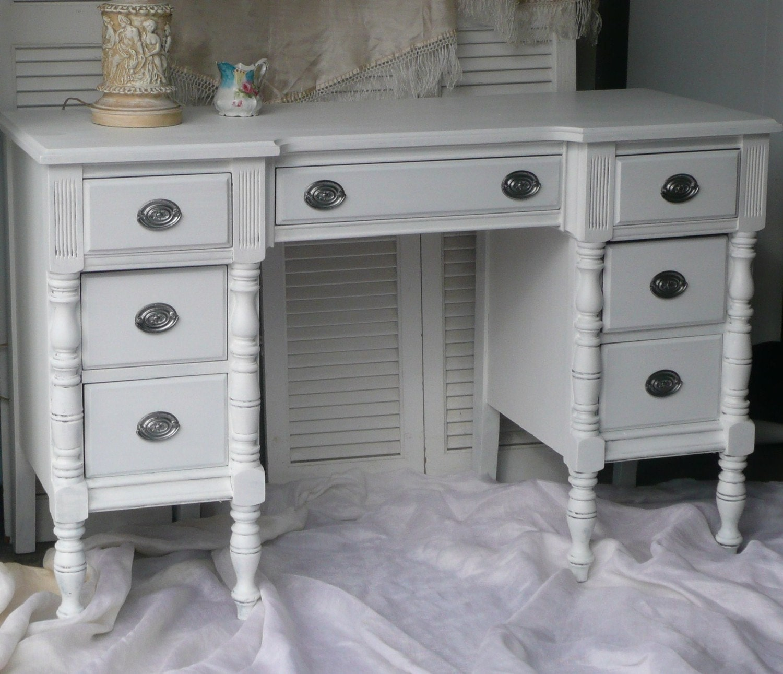 Vintage desk vanity shabby chic white for Vanity desk