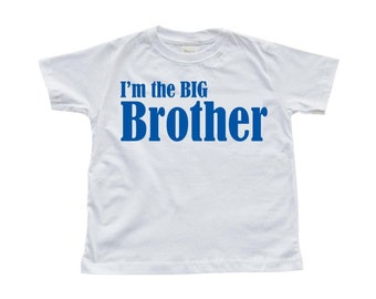 "Toddler T-Shirt ""I'm the BIG Brother"" Print on White Tee"