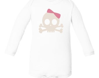 Apericots Cute Original Long Sleeve Bodysuit with Pirate Princess With Bow Skull Design for Baby Pirates Fun Gift Idea