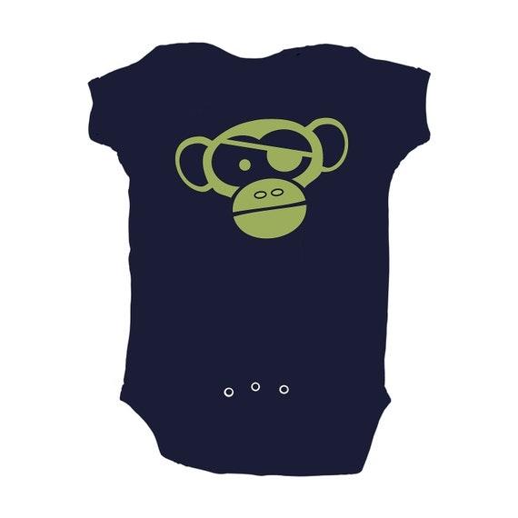 Baby Boy Pirate Chimp Monkey Design Navy Blue Bodysuit