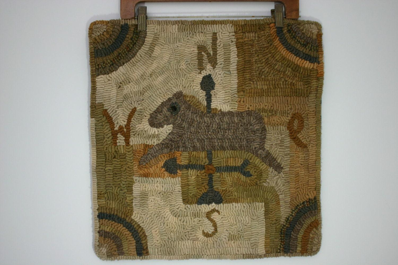Horse Weathervane Primitive Hand Hooked Wool Rug Free