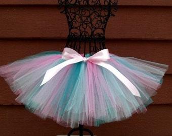 Girls Aqua tutu- Pink and blue tutu- 1st Birthday tutu- Pink Mint tutu- Baby blue tutu- Teal and Pink tutu- BUBBLEGUM MINT- Ballet tutu-