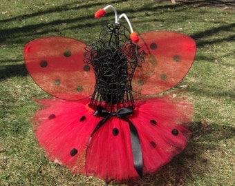 Lovely Ladybug Tutu -TUTU ONLY- Girls Ladybug Costume- Baby Ladybug Tutu- Black and red tutu