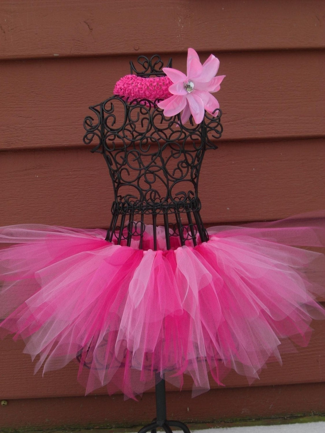 Pink Ballerina Tutu Headband and Flower Clip Included