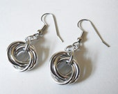 Knot earrings, Chainmaille, Silver-tone, Aluminum