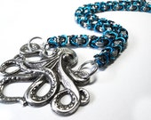 Octopus necklace, Chainmaille jewelry, Byzantine weave, Sea creature necklace