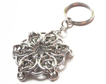 Silver star keychain, Chainmaille, Celtic Visions Star