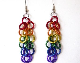 Gay Pride earrings, Rainbow earrings, Chainmaille, Shaggy loops weave
