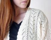 vintage open knit cardigan / vintage linen resort cream cardigan / size small - medium - large
