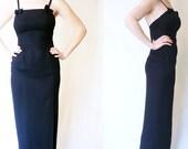 vintage 1980s gunne sax cocktail dress / 80s jessica mcclintock black floor length maxi dress / size small